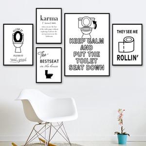 WC Tuvalet Kağıdı Karma Alıntı Komik Poster Duvar Sanatı Tuval Banyo Dekor İçin İskandinav Posterler Ve Baskılar Duvar Resimleri Boyama