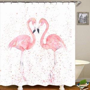Shower Curtains Summer Pink Flamingo Curtain Banana Leaf Beach 3D Digital Printing Waterproof Bathroom Cortina De Ducha