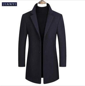 Casual Wool Tweed Long Coat Lapel Neck Mens Coat Windbreaker Warm Cashmere Single Breasted Coats Mens Outerwear