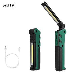USB rechargeable Pliable COB Torch Portable LED Light Work forte COB magnétique Lanterna crochet de suspension Lampe extérieure
