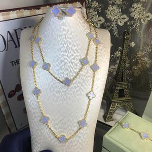 Kadınların düğün kolye bilezik küpe kahverengi açık mor yonca anne kabuk CZ takı için HOt 925 gümüş, dört yapraklı çiçek takı seti