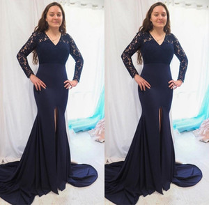 Fashion Navy Blue Mother Of The Bride Groom Dresses Mermaid Long Illusion Lace Sleeves 2020 Plus Size Cheap Formal Evening Gowns New B96