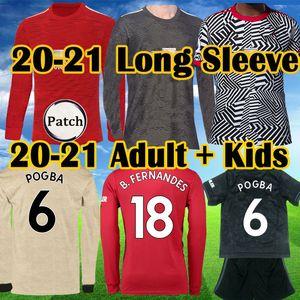 2019 2020 2021 Üst FC GREENWOOD RASHFORD Pogba Uzun Kollu futbol formaları Manchester BRUNO FERNANDES UNITED Utd adam futbol forması Çocuk Seti