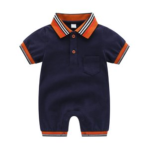 Infant boys romper summer toddler kids stripe lapel short sleeve jumpsuits newborn kids cotton diaper kids designer clothing A3832