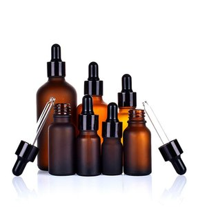 Frosted amber glass dropper essential oil bottle 5ml 10ml 15ml 20ml 30ml 50ml 100ml with black cap WB2259
