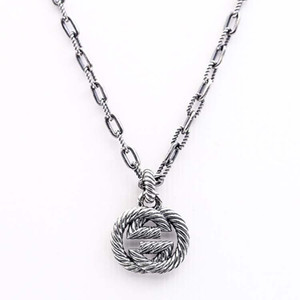 S925 Silver Necklace Retro Sterling Silver Twisted Interlocking Ring Pattern Necklace Male and Female Twist Interlocking Necklace