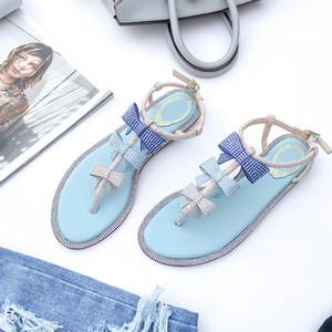Scarpe Blu Rosa di estate le donne dei sandali 2020 Bling piatto strass signore Beach Sandles dal design di lusso sandalias Mujer Sandels