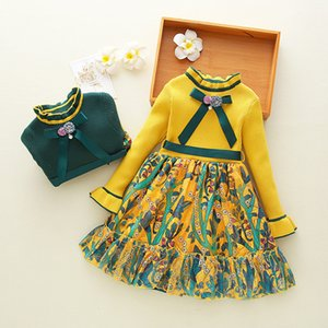 Baby Girls Cute Sweater Dress Spring Autumn Girl Party Princess For Kids Sweet Flowers Long Sleeve Dress For 2-10Year T200709