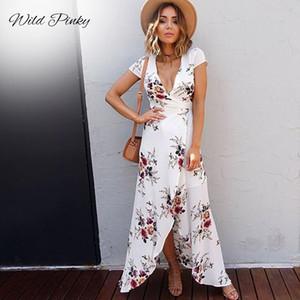 Blanc Femmes imprimé floral Robe de plage Mode Boho Robes d'été Mesdames Vintage V-cou Robe de Split Party Vestidos