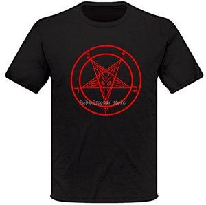 T-shirt do símbolo do Baphomet - Satanic Church Goth Unholy Demonic Goat presente de aniversário Camiseta Masculino Marca Camiseta Verão