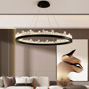 Modern Crystal Tube Led Chandelier Lighting Gold Black Metal Living Room Led Pendant Chandelier Lights Dining Room Hanging Lamp