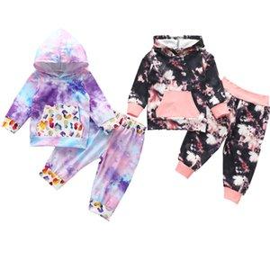 2pcs Moda Outono Bebés Meninas Meninos Outfits Suit Tie Dye Florla Printed Pullover Hoddie camisola + Calças da criança Roupa Set