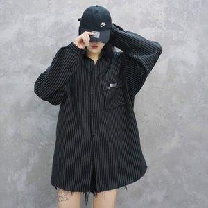 Frühling, Herbst und Sommer Frauen-Shirt Designer-Marke Trend Neuheit Kern-Spinngarngewebe bequemes lose Version Paarhemd Köper