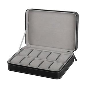 Especial Protect 10 Grids PU Leather Relógio de pulso Caso Box Zipper viagem Assista Jóias Storage Bag Box