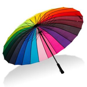 24K Rainbow Big Umbrella Windproof Men's Leather Long Handle Warrior Umbrella Female Sunny And Rainy Umbrella with Shoulder Bag T200117