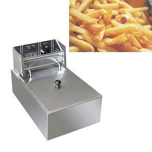 Elektrische Friteuse Multifunktionale Haushalt Gewerbe Edelstahl Grill Bratpfanne Französisch frites Maschine heißen Topf 6L 2500W