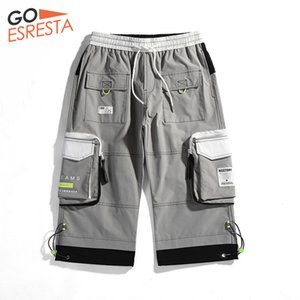 GOESRESTA 2020 New Tide brand Casual Shorts Men Summer Bermuda Hip Hop Shorts Seven points Gray Loose Cargo Shorts Men CX200731