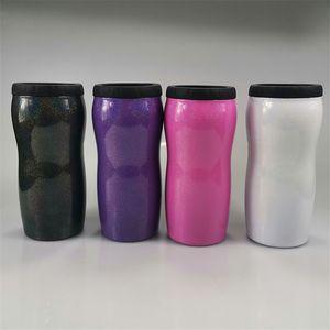 12 Unzen Dosenkühler Edelstahl Glitter Dosen Vacuum Bierbecher Double Wall Sommer isolierte Kaffee Tumblers Rainbow Color Kühler A03