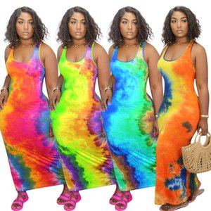 New women Long Dress Tie dye Short Sleeve Casual Long Skirt Sexy U-neck Big Swing Fashion Printed Sleeveless Dres D106