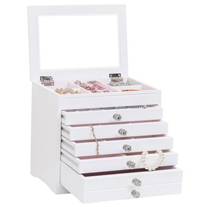 6 gavetas 7 camadas jóias caixa de armazenamento de jóias caixa de Início de vestir de armazenamento da tabela Caixa de Acabamento de madeira branca