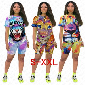 Women Tiger Lion Animal Outfits Designer T-shirts + Shorts 2pcs Sets Tracksuit Summer Tee Tops Short Pants Jogging Suit Night Clubwear D7711