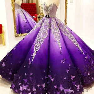Princess Purple Quinceanera Dresses Crystal Beads Sash Butterfly Lace Appliques Engagement Dress Ball Gown Prom Party Gowns