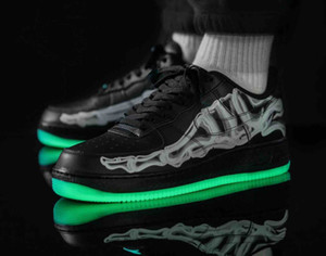 Nike Air Force 1 Mid 07 AF1 Skeleton 2019 New Hot vente en plein air Casual chaussures Forces 1 07 Faible Noir Skeleton BQ7541-100 bas blanc squelette BQ7541-001 Designer size36-45