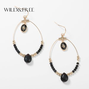 Wild & Free Vintage Black Water drop Beads Earrings for Women Clothing Accessories Baroque Bohemian Large Circle Earring Jewelry