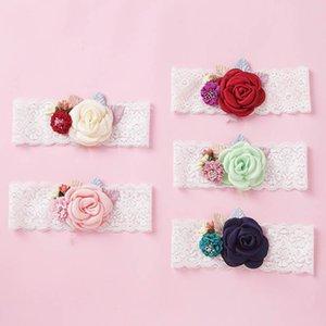 INS Spitzeblumenbabystirnbänder Stirnbänder Handarbeit Mädchen Stirnband Prinzessin Designer Kinder Stirnband-Baby-Haar-Zusätze