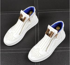 남성 명품 디자이너 리벳 신발은 운동화 높은 탑을 반짝 리벳 남성 캐주얼 신발 가을 플랫폼 펑크 지퍼 앵클 부츠 압축