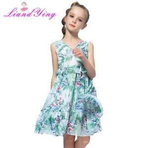Kız Giydirme Pileli V yaka şifon Sundress 2020 Yaz Banana Leaf Çocuk Elbise Çocuk Giyim Boyut 2-12 Yrs
