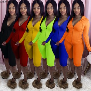 Women Sets Solid Hooded Long Sleeve Hoodies Tops Knee Length Jogger Pants Suit Two Piece Set Sport Tracksuit Outfits