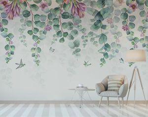 CJSIR personalizada papel pintado 3D Mural nórdica simple pájaro de la acuarela de las flores y hojas Dormitorio fondo de la pared Papel de parede