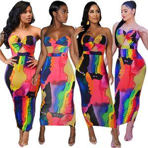 Sexy Printed Strapless Long Dress Women Summer Sleeveless Rainbow Tie Dye Print Summer Maxi Dress Club Night Party Bodycon Sheath Dresses