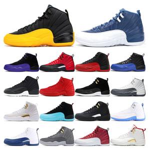 air retro jordan 12 chaussures de basket-ball Jumpman 12s Université d'or INDIGO INVERSE FLU JEU Taxi noir de taille Sports Concord 7-13 Outdoor