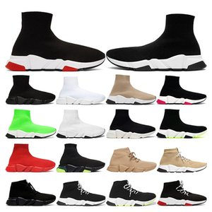 speed trainer Sock shoes platform mens sneakers Beige Yellow Fluo Black pink Whit red Neon Flat Fashion womens vintage sports fashion