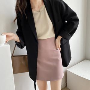 한국어 여름 여성의 미니 스커트 우아한 고체 A 라인 높은 허리 짧은 치마 여성 2020 패션 캐주얼 여성 바지