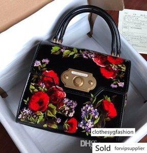 Luxury new Genuine Leather flower Vernis design handbag High Woman tote size 24-13-19.5
