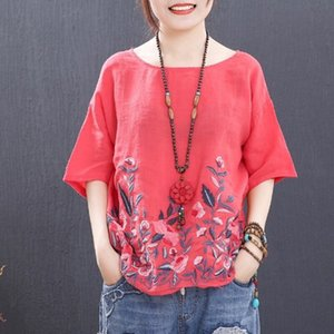 N3Sv5 National style embroidery short-sleeved T-shirt female Embroidered cotton and linen t-shirt cotton linen 2019 summer round collar all-