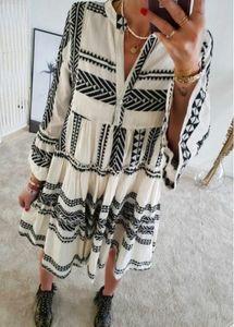 2020 summer new ladies fashion dress geometric print V-neck short skirt multi-color multi-code