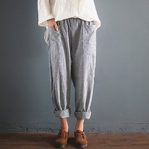 Oversized Trousers Women Elastic Waist Pockets Long Harem Pants Casual Retro Cotton Linen Striped Turnip