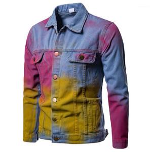 Moda Hiphop Casual Outwears Mens colorido Designer Demin Jaquetas Homens Spring respingo de tinta Punk lapela Neck botão do homem Coats