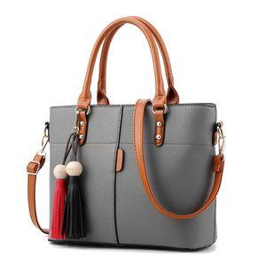 Mode Femmes sacs à main en cuir PU Tassel Totes Sac Top-poignée Sac bandoulière broderie épaule Bag Lady Sacs à main