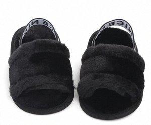 Kış Sıcak Bebek Terlik İlk Yürüyenler Bebek Kız Erkek Bulanık Yumuşak Yatağı Ayakkabı Harf Elastik Band Katı Beşik Pram Prewalker p0Tm #