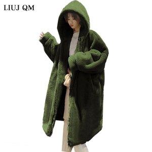 LIUJ QM con capucha de gran tamaño chaqueta de la capa del invierno mujeres de la piel Parka caliente larga de piel falsa capa de la chaqueta abrigos de invierno suelta Mujeres -20 grados