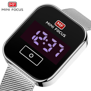 MINI FOCUS Mens Fashion Touch Screen LED Digital Casual Watch 30M Waterproof Stainless Steel Mesh Belt Folding Clasp Electronic Watches