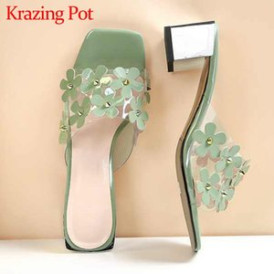 Krazing pot new arrival large size peep toe high heels handmade shoes flower decorations beauty lady dating sandals women L9f5