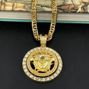Collane di modo del pendente con la collana di cristallo della lega per trasporto libero Collana Uomini di Hip Hop uomini di stile