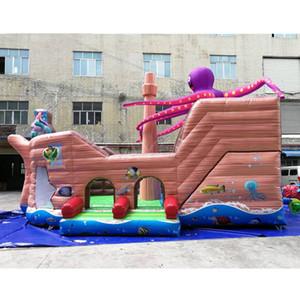 Inflável partido inflável ao ar livre do pirata Octopus Stuffed Animal Casa Bounce Combo gigante pirata polvo Bounce For Kids jogo w / ventilador de ar