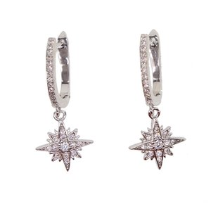 High quality statment Crystal Star Zircon Earrings drop dangle snowflake pendent earrings elegent 3 colors jewelry for party